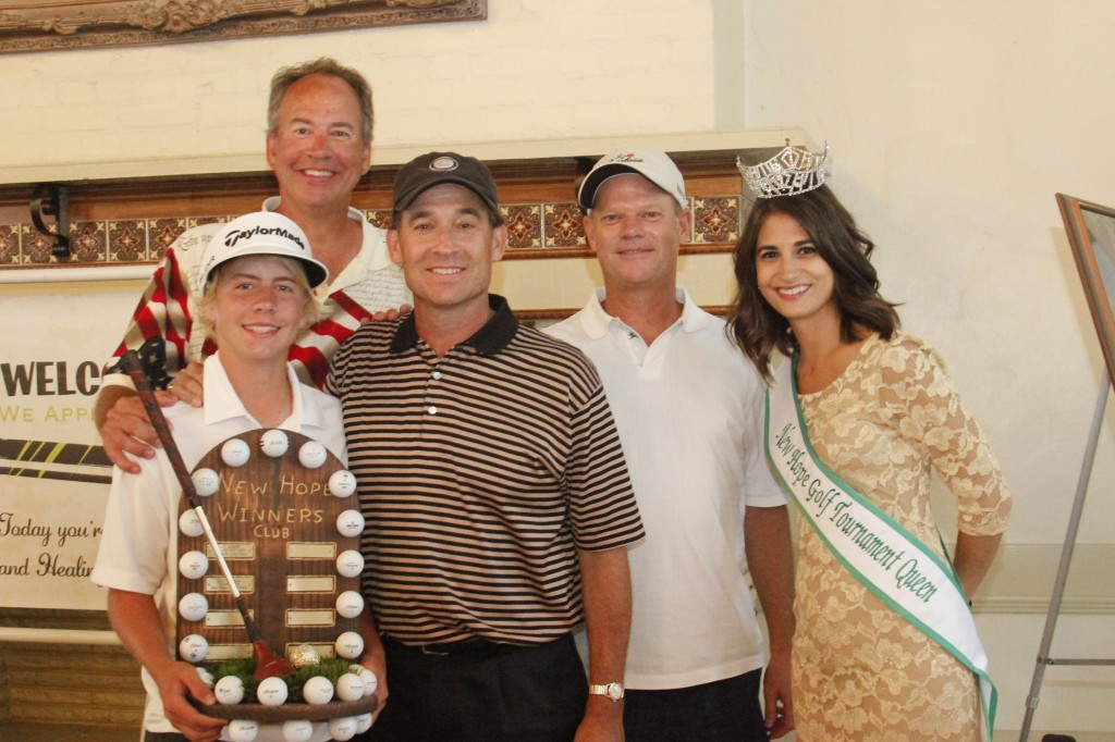 Tyler C. Adler, Chris Putney, Schott R. Allen, Keith M. Douds with New Hope Golf Tournament Queen, Rachel Oblon